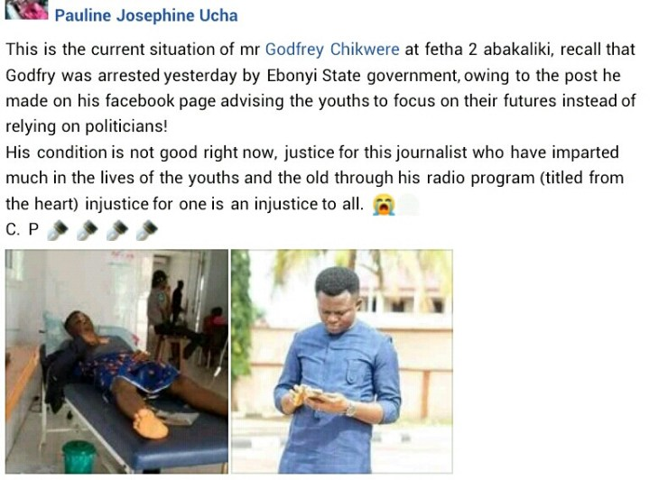 Update: Journalist arrested in Ebonyi over alleged incisive Facebook post, hospitalised after falling sick in police custody