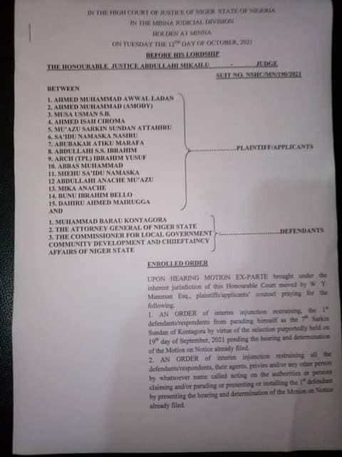 Court sacks new Emir of Kontagora