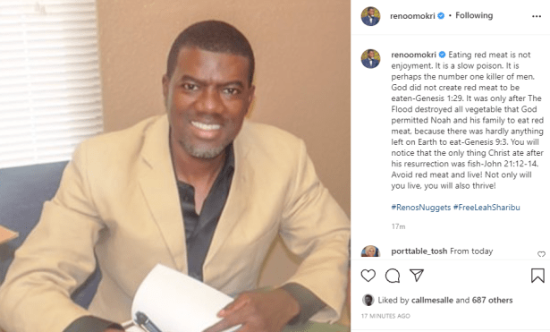 Eating red meat is a slow poison. God did not create red meat to be eaten - Reno Omokri