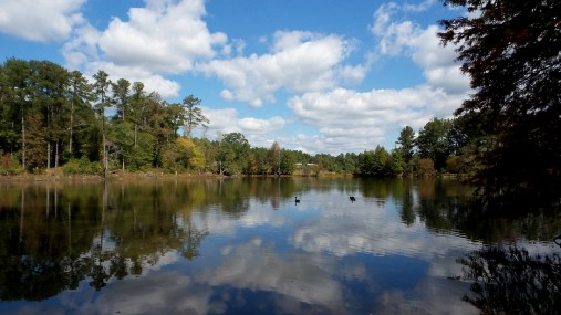 Monastery of the Holy Spirit pond ducks skies travel
