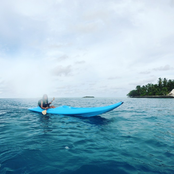 Solo Trip to The Maldives: Kayaking Around Rasdhoo Island Before Sunset