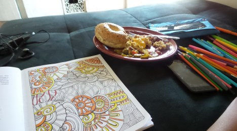 adult colouring crayons breakfast food