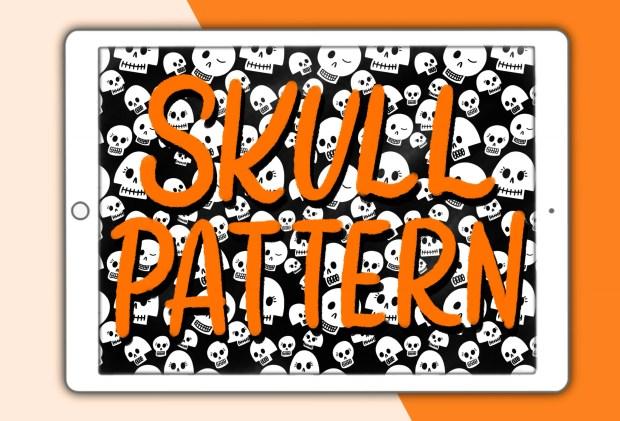 Skull seamless pattern Procreate brush