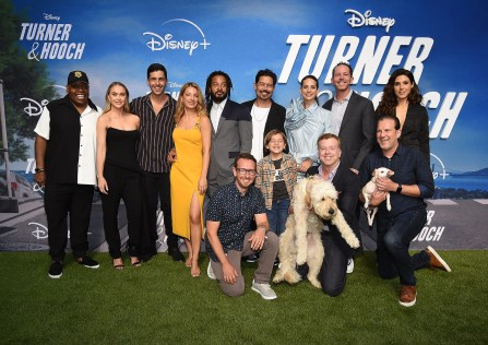 """The cast of Disney+'s """"Turner & Hooch"""" at the world premiere event"""