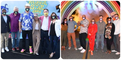 """The casts of """"The Patrick Star Show"""" and """"Middlemost Post"""" at the drive-in premiere"""