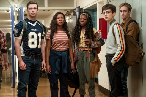 """Burkely Duffield, Sydney Park, Asjha Cooper, Jesse Latourette, and Dale Whibley in Netflix's """"There's Someone Inside Your House"""""""