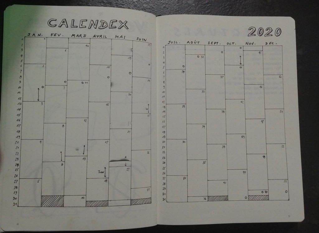 Bullet Journal : Calendex 2020