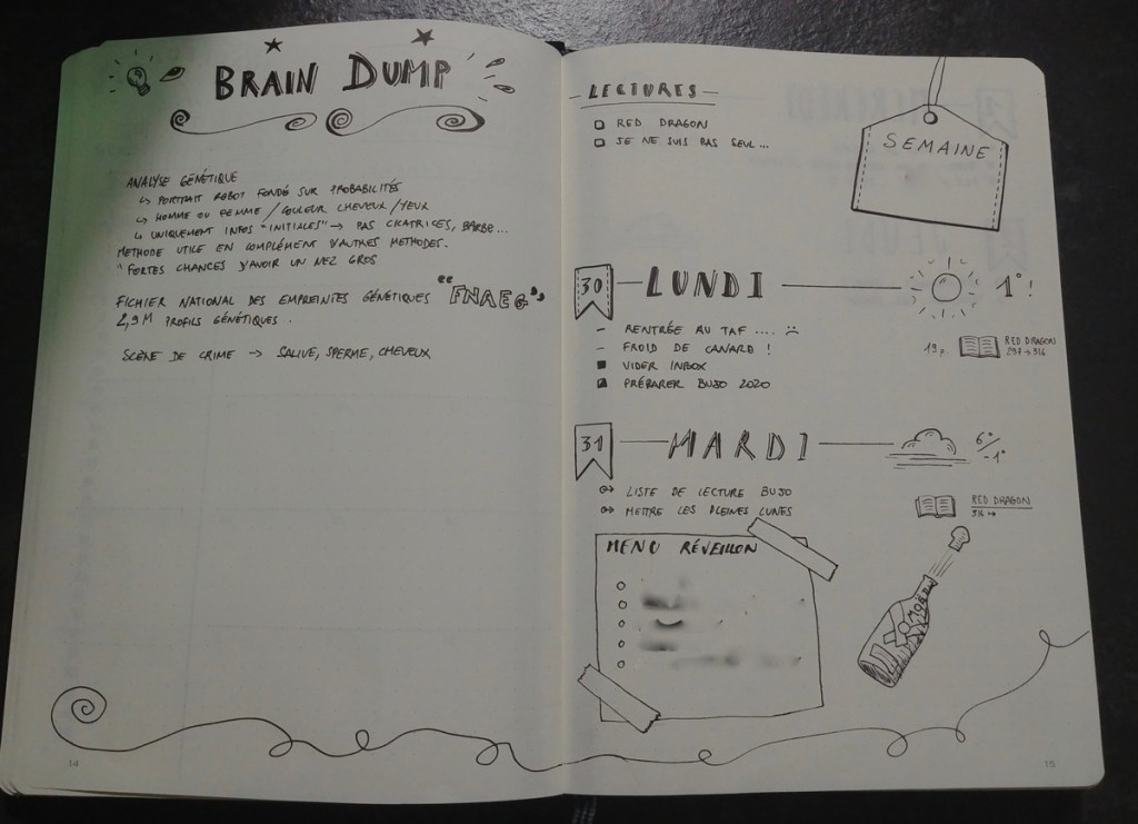Bullet journal - brain dump