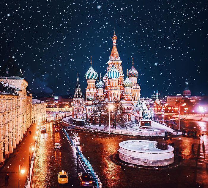 La Ciudad De Moscú Y Su Aspecto De Cuento De Hadas Durante La Navidad Ortodoxa