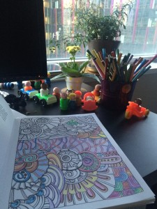 The 30-second coloring book break. Little People not included.