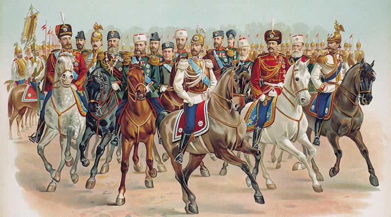 Члены императорской фамилии в мундирах гвардейских полков