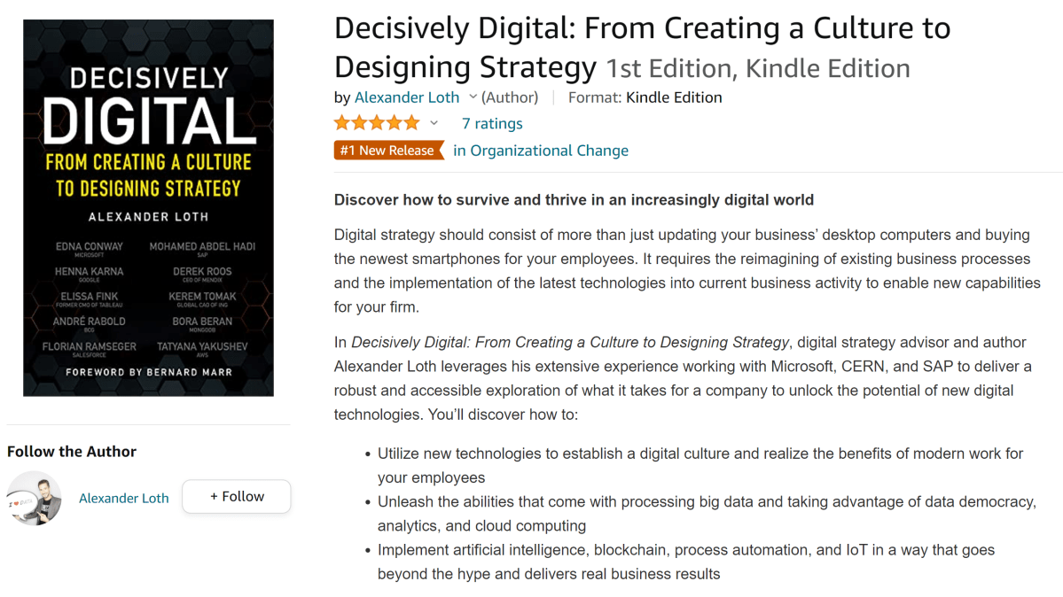 Decisively Digital is the #1 New Release in Organizational Change on Amazon
