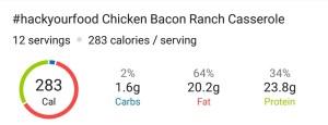 Nutrition - Chicken Bacon Ranch Casserole