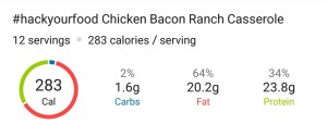 Nutrition - Chicken Bacon Ranch Casserole