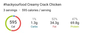 Nutrition - Creamy Crack Chicken