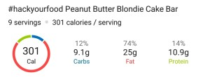 Nutrition - Peanut Butter Blondie Cake Bars