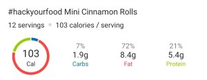 Nutrition Facts - Mini Cinnamon Rolls