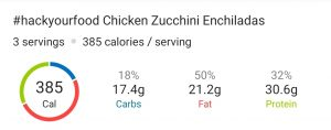 Nutrition Facts - Chicken Zucchini Enchiladas