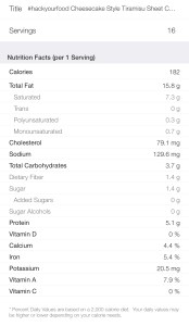 Nutrition Facts - Keto Cheesecake Style Tiramisu Sheet Cake