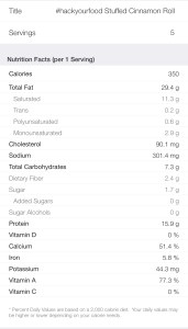 Nutrition Facts - Keto Stuffed Cinnamon Roll