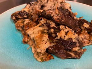 Plated Zoom - Scalloped Portobello Mushrooms