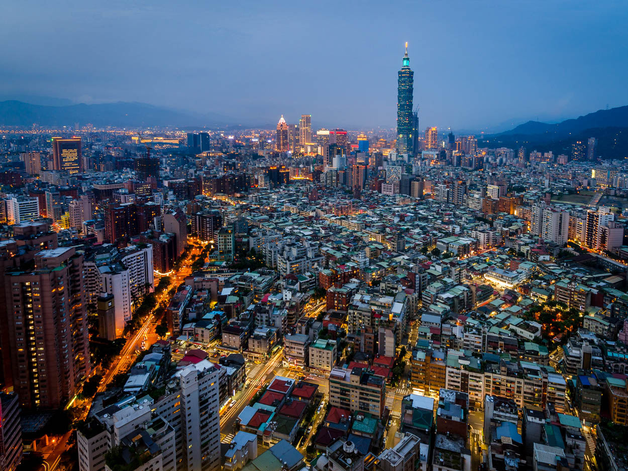 View of Taipei from the rooftop of the Shangri-La Hotel