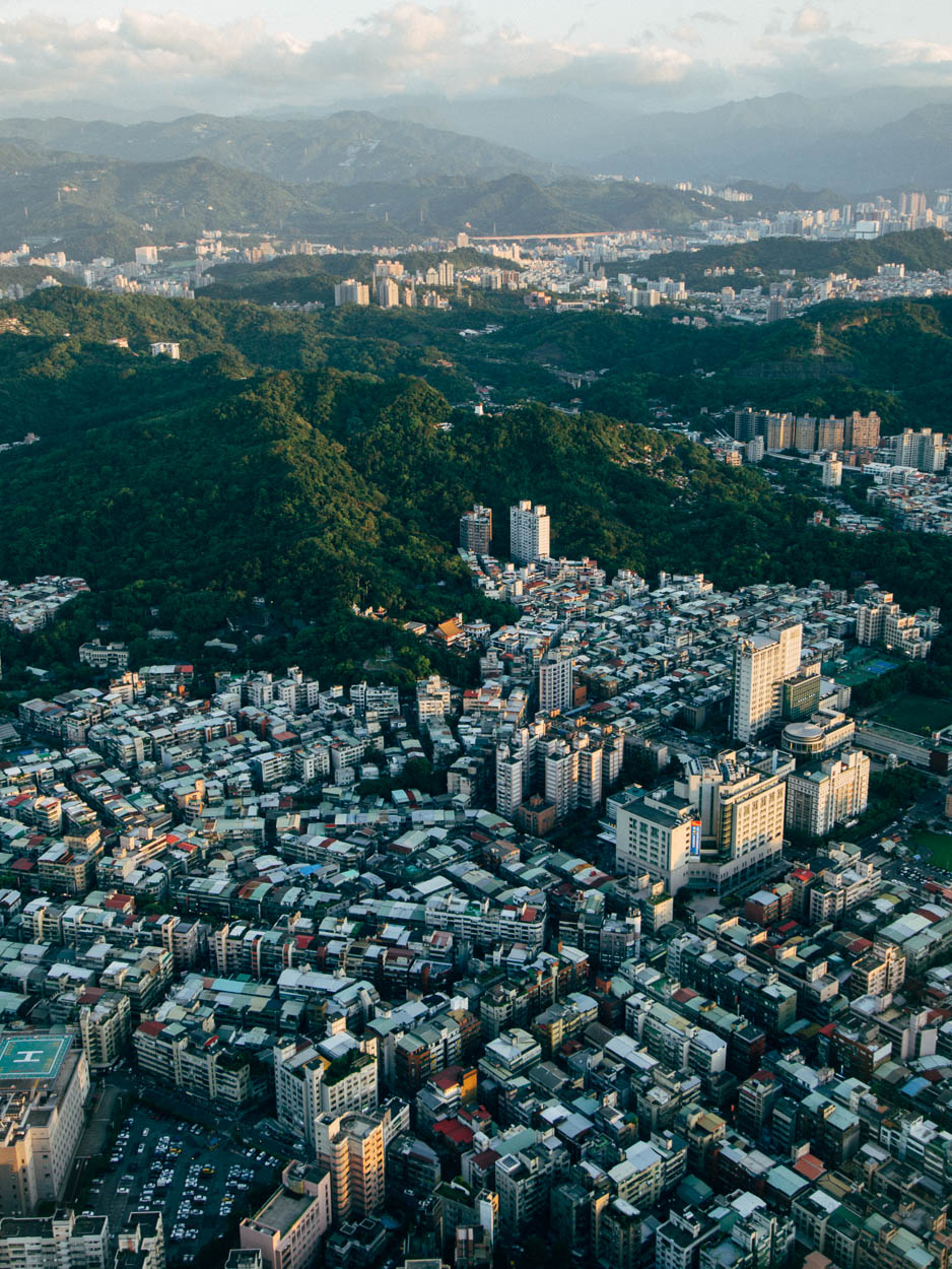The view toward the hills of Taipei from the top of Taipei 101.