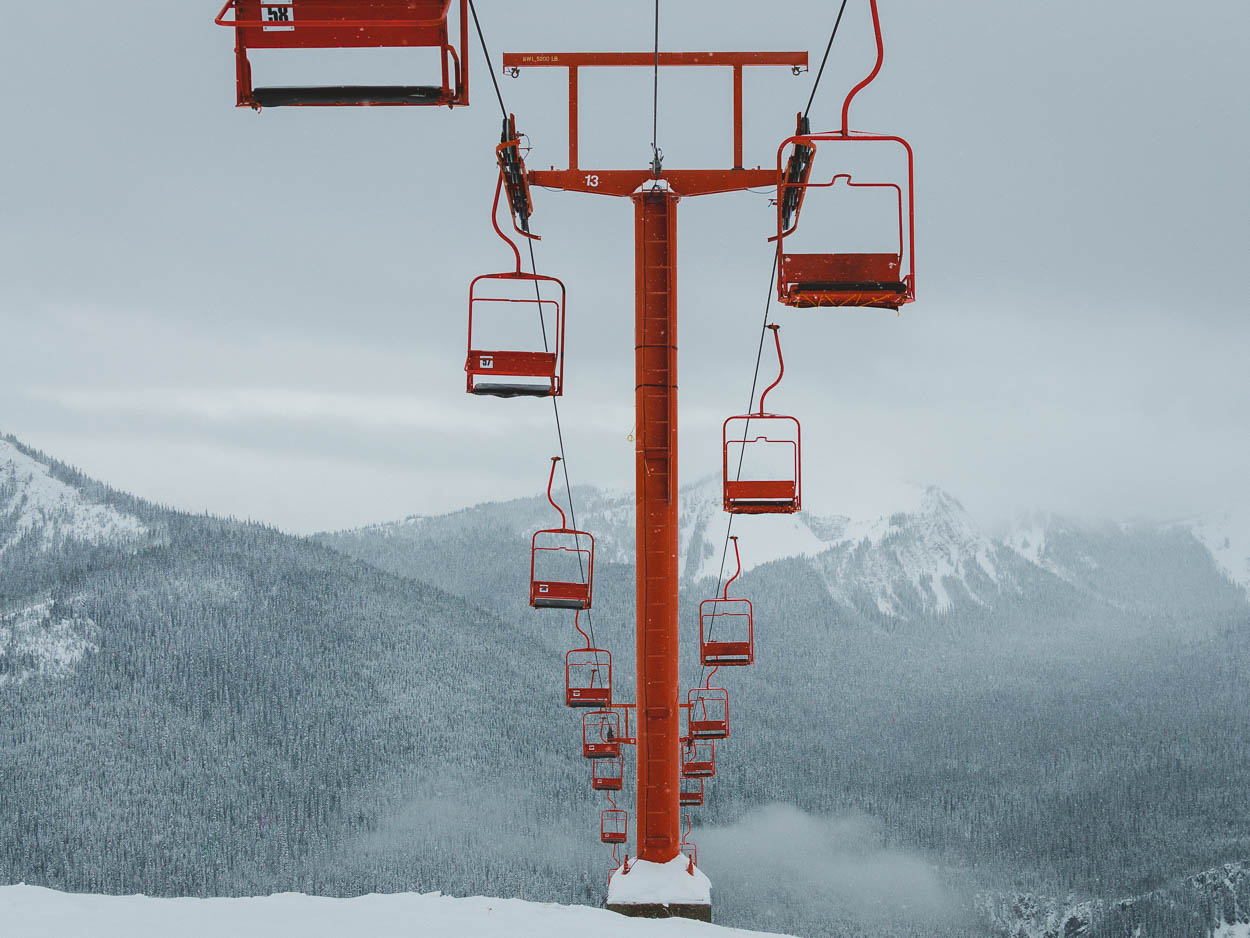 Manning Park Resort's iconic orange chairlift