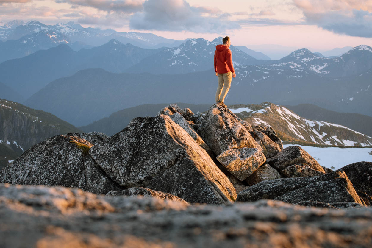 Watching the sunset from the summit of Needle Peak, Coquihalla Recreation Area
