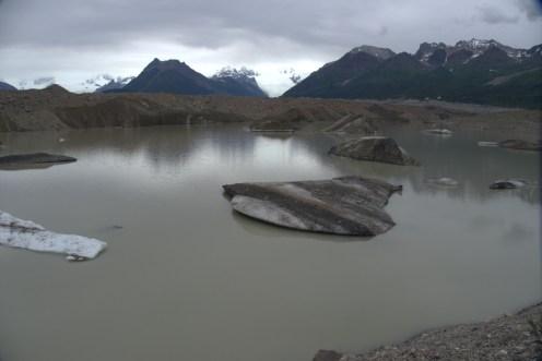 Icebergs at the toe of the glacier.