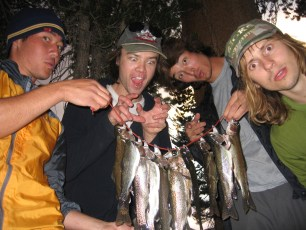 9/10/07: Quite a passel of trout. From left to right: Joel, Ian, me, and Chad