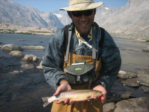 8/26/08: Dad with a nice cutthroat. Titcomb Basin, WY