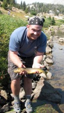 8/28/08: Tim fooled this huge cutthroat with a tiny dry fly