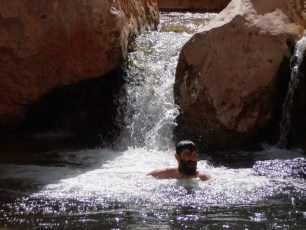 Pete in his element - a swimming hole in Kanab Creek