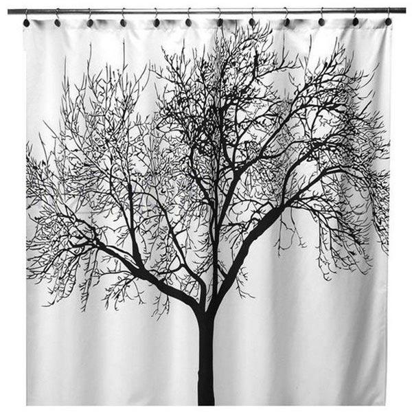 polyester fabric black tree branch bath