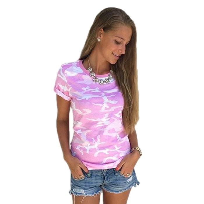 Women Summer Casual Camo Short Sleeve Tops Tee Shirt Loose