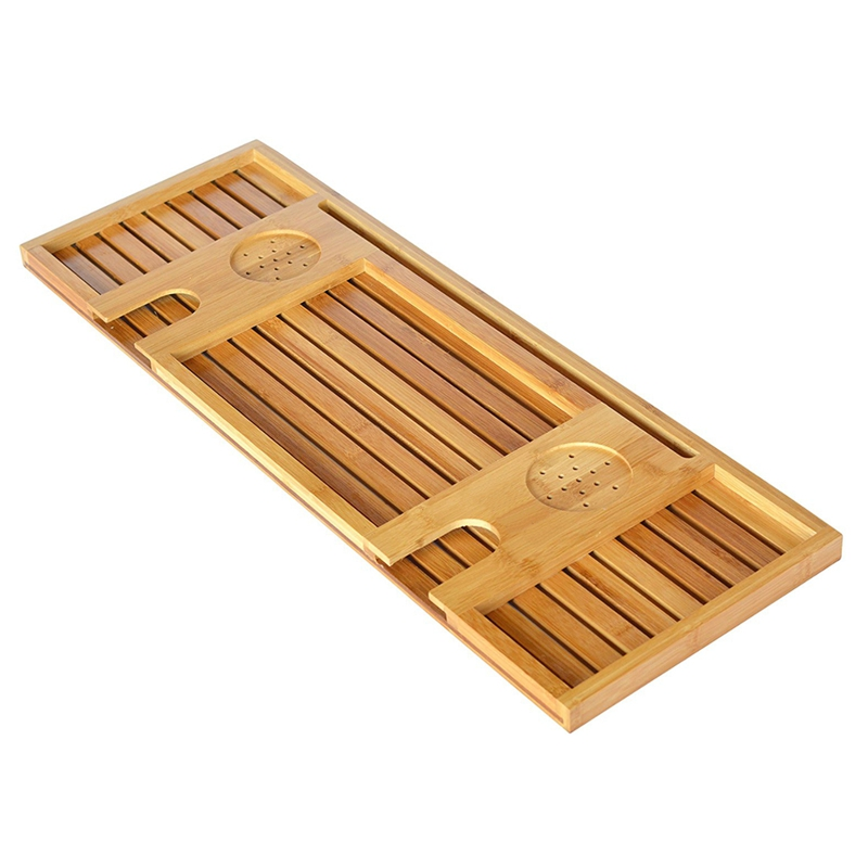 Bamboo Bathtub Caddy Tray With Reading RackTablet Holder
