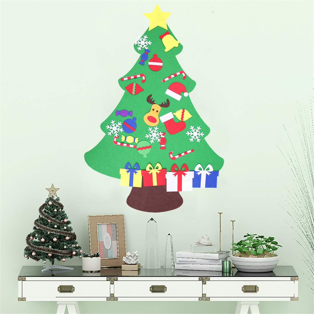 100cm Diy Christmas Deluxe Felt Tree Wall Hanging Toddler