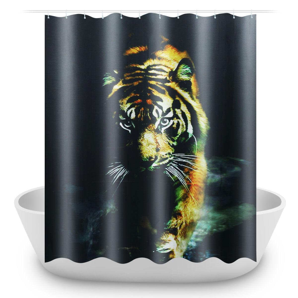 72 X72 Wildlife Animal Nature Decor Tiger Bathroom Decor Shower Curtain With Plastic Shower Hooks