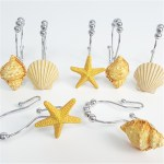 12pcs Set Resin Decorative Seashell Shower Curtain Stainless Steel Hook Bathroom