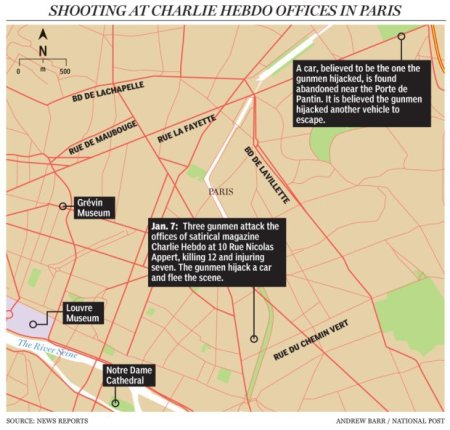 Paris Shooting map