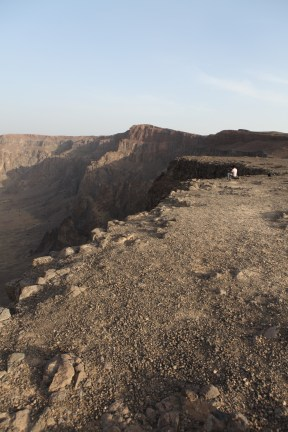 Looking down Wahba crater's wall