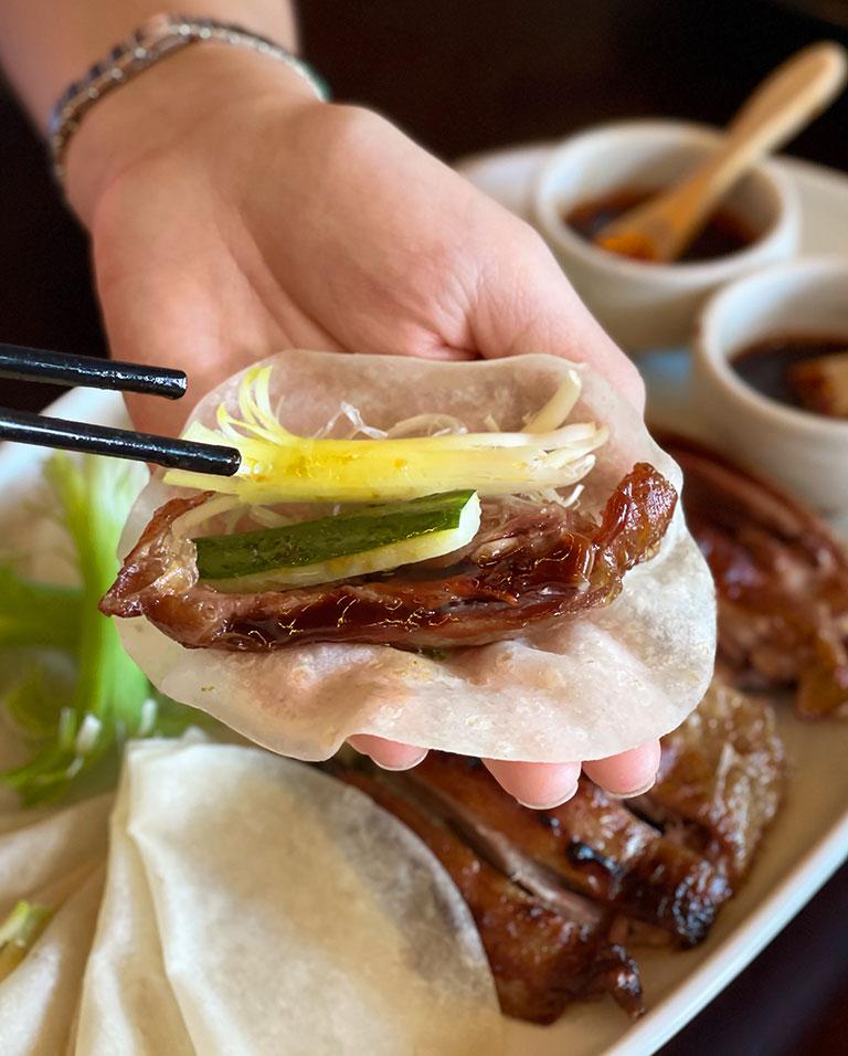 Chinese roast duck pancake wrap