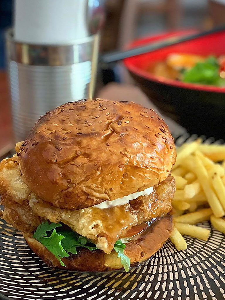 Chicken Nanban burger served with French fries