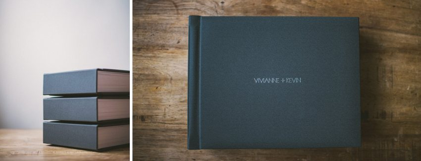 Dark linen wedding album