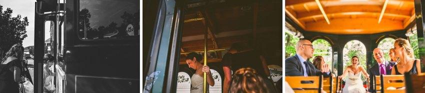 bride riding trolley to wedding