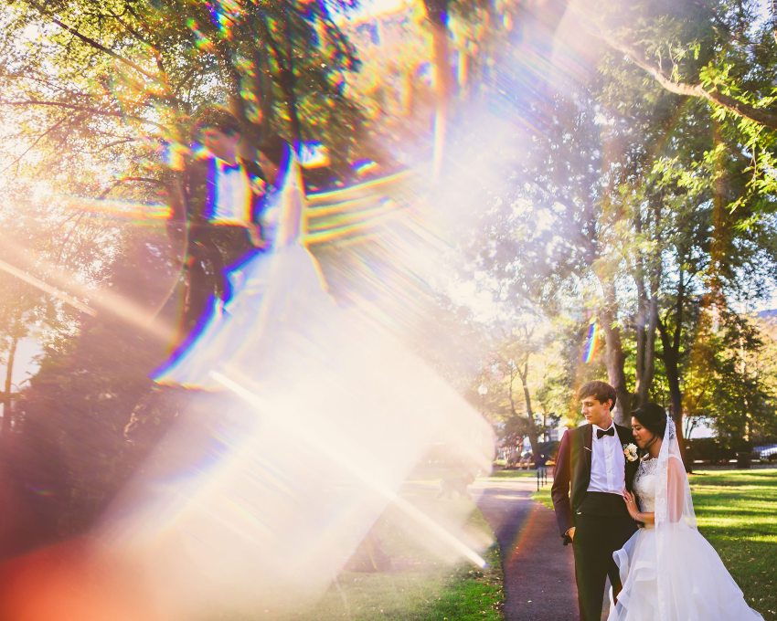 colorful prism wedding portrait in Boston