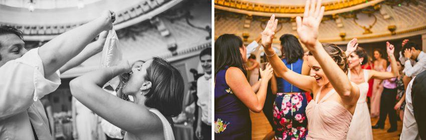 bridesmaids dancing on dancefloor