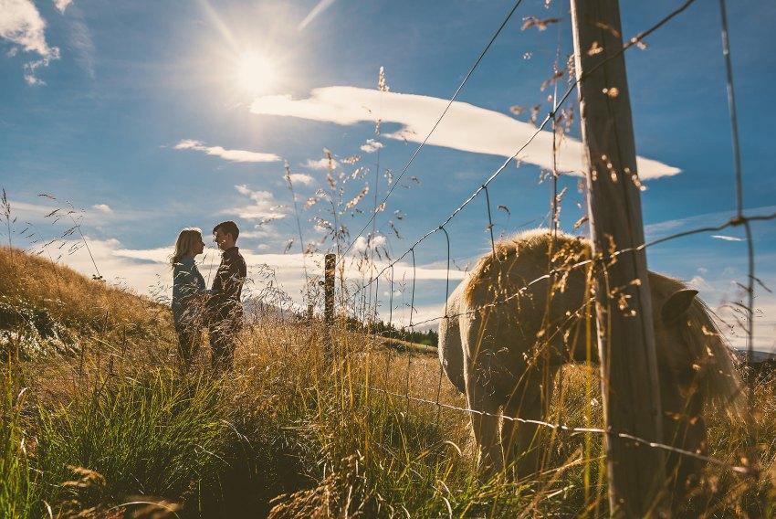 engagement portrait with Icelandic pony