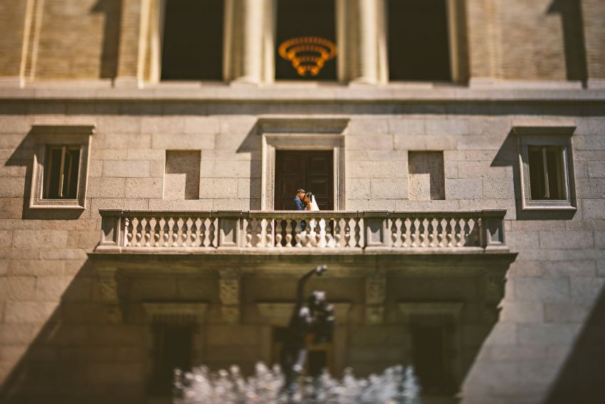 Boston Public Library courtyard balcony wedding portrait